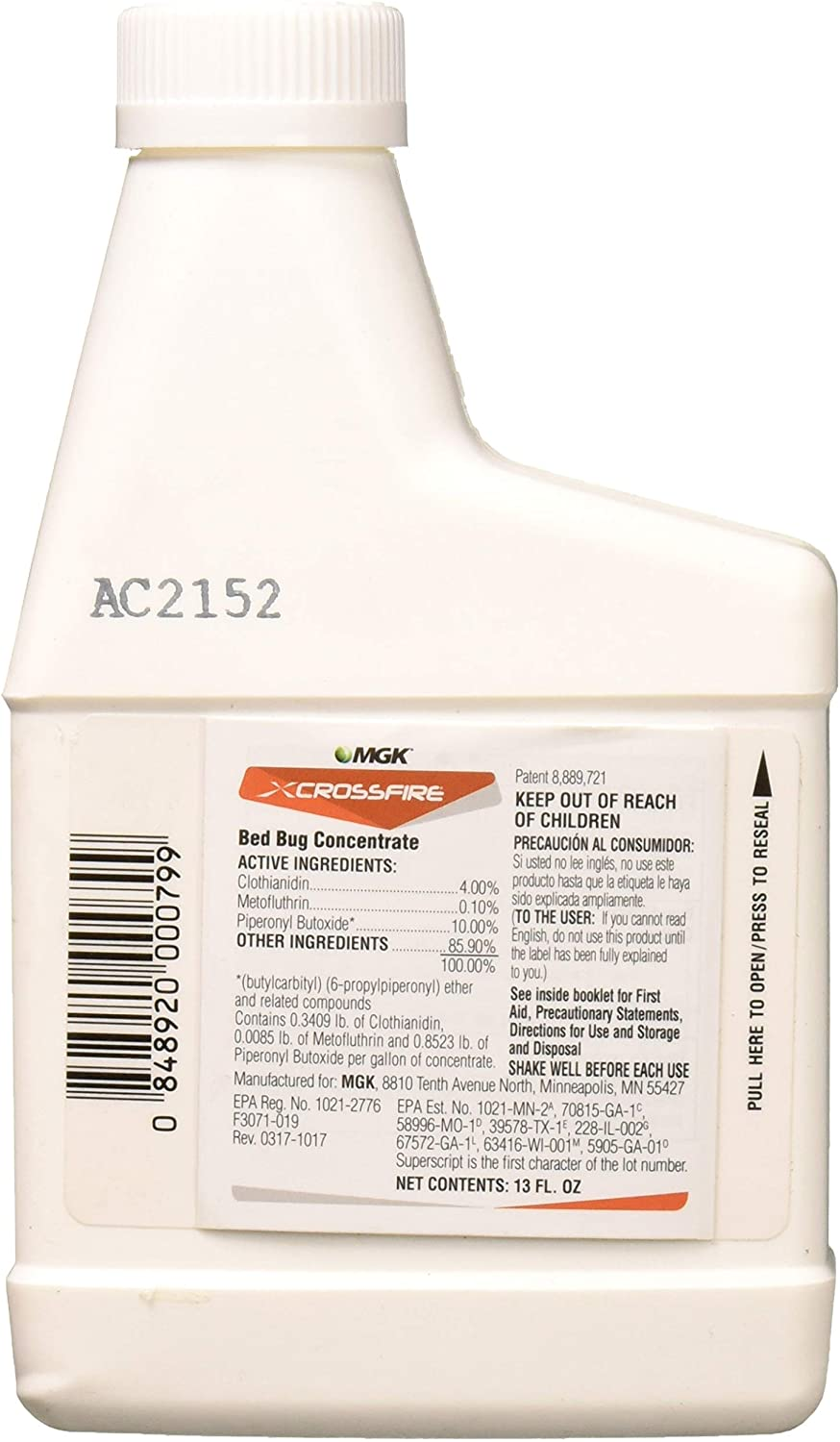 MGK 1852 Crossfire Concentrate 13oz Insecticide, Clear