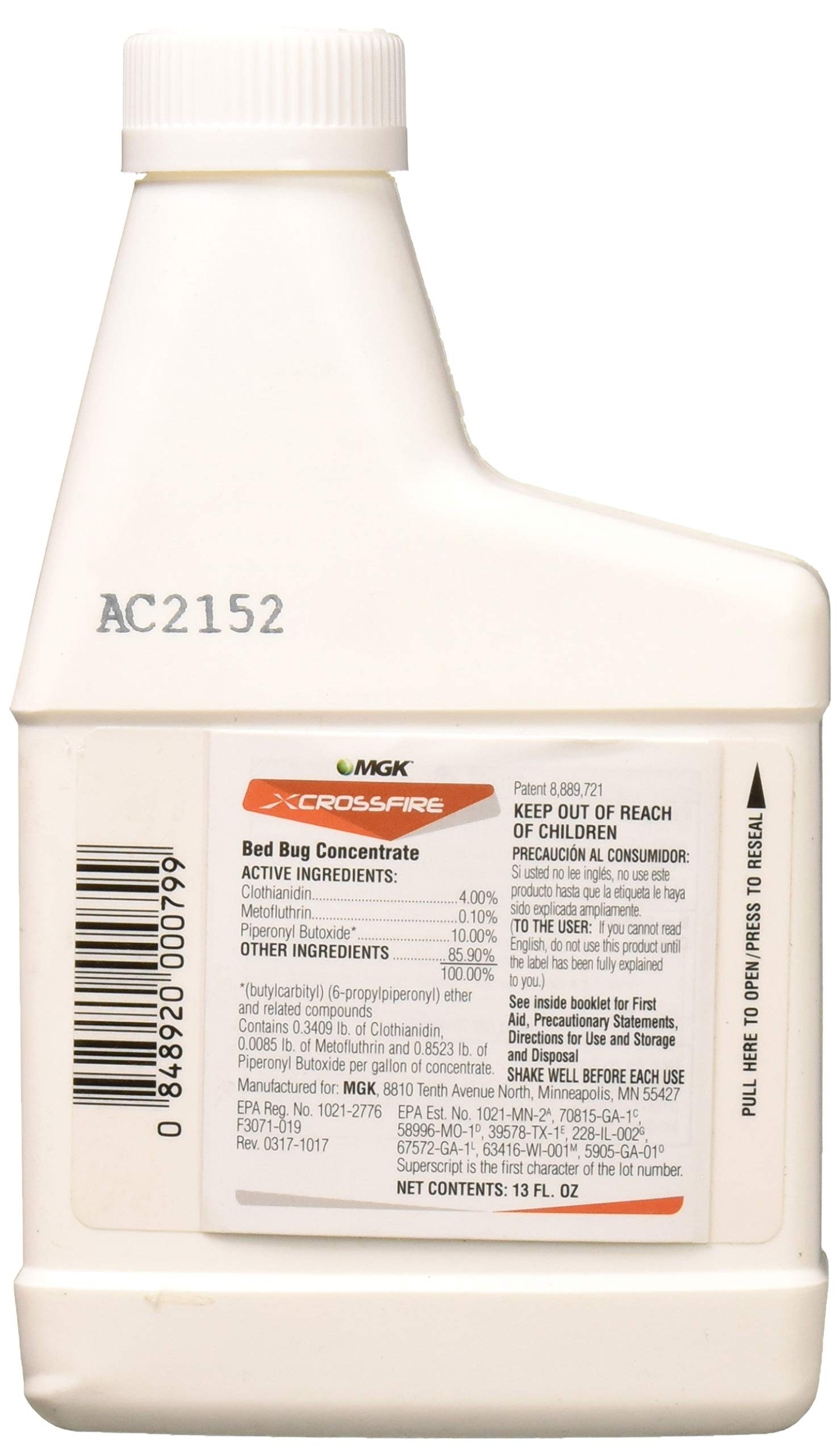 MGK 1852 Crossfire Concentrate 13oz Insecticide, 13 oz, Clear