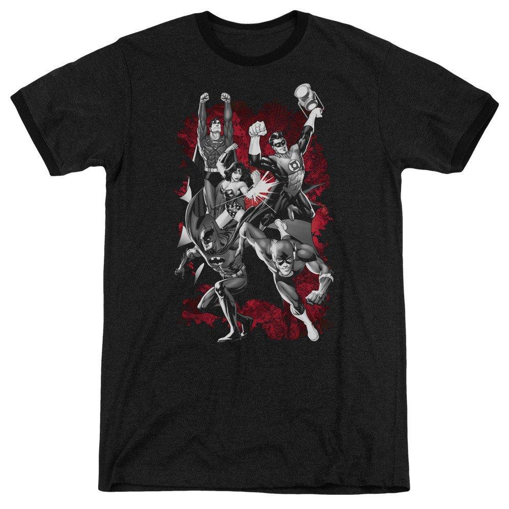 JLA Explosion Adult Ringer T Shirt L Sons of Gotham JLA