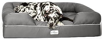 Cama de espuma viscoelástica para perros medianos y grandes, Gris (Jumbo Bed),
