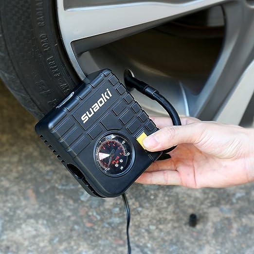 Pumpe Luftpumpe mit LED Licht 12/V, 120/psi, 3/Adapter D/üse, 4/Luft Schlauch, 3/m Kabel mit Zigarettenanz/ünder, f/ür Reifen, aufblasbare Objekte Suaoki Tragbares Mini-Luftkompressor