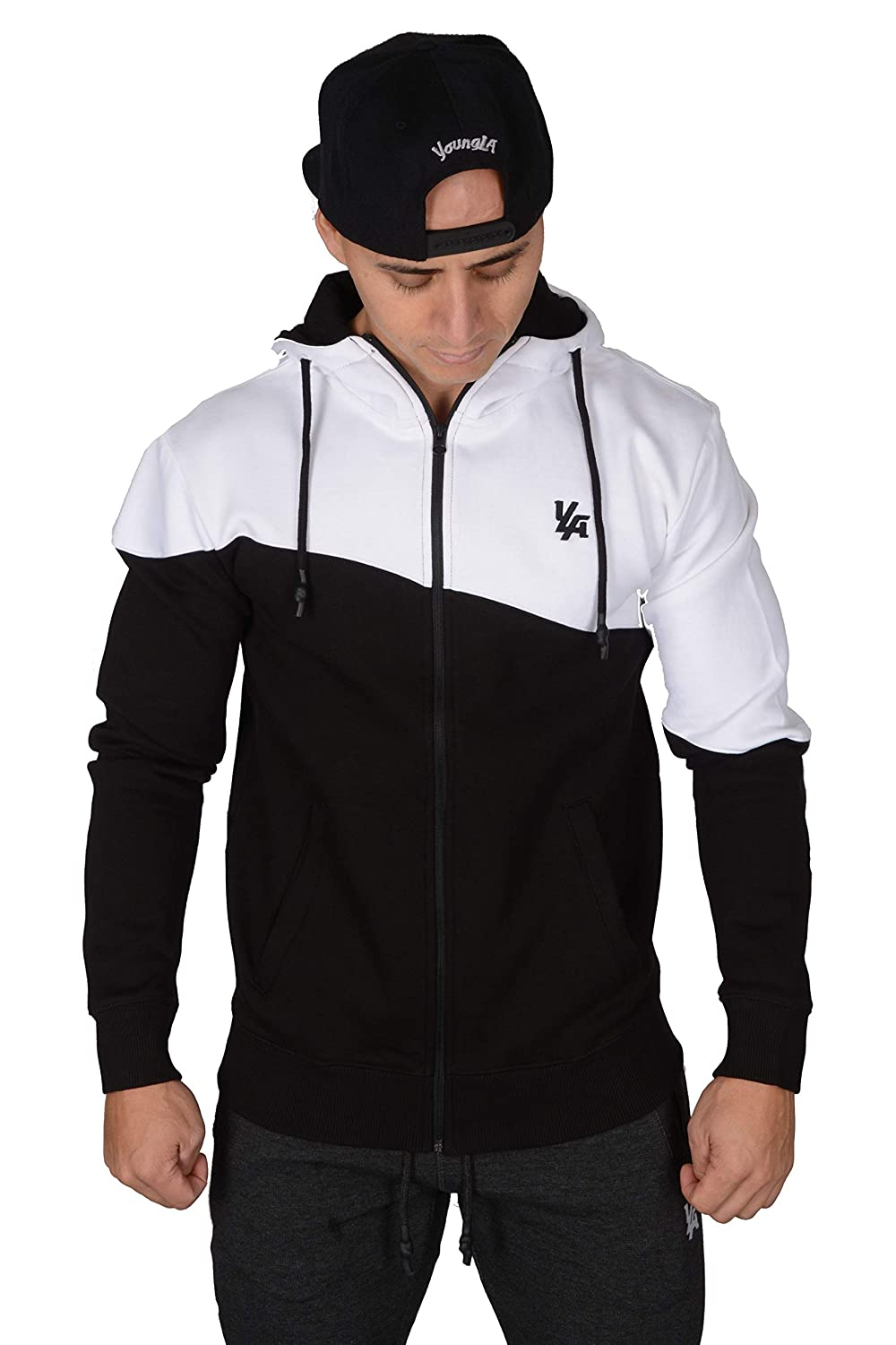 YoungLA Gym Hoodie for Men Soft Athletic Training Workout Hoodies with Zipper 516