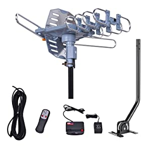 150 Miles Range-Amplified Digital Outdoor TV Antenna with Mount Pole-4K/1080p High Reception-40FT RG6 Coaxial Cable-360° Rotation Wireless Remote- Snap On Installation-2 TVs Function