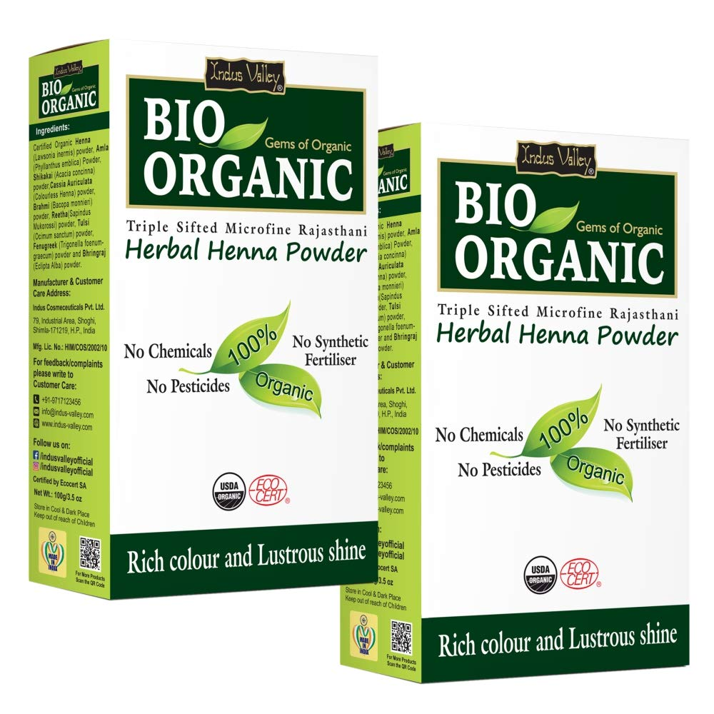INDUS VALLEY Natural Henna Combo Herbal Henna Powder - Pack of 2 (200gm)