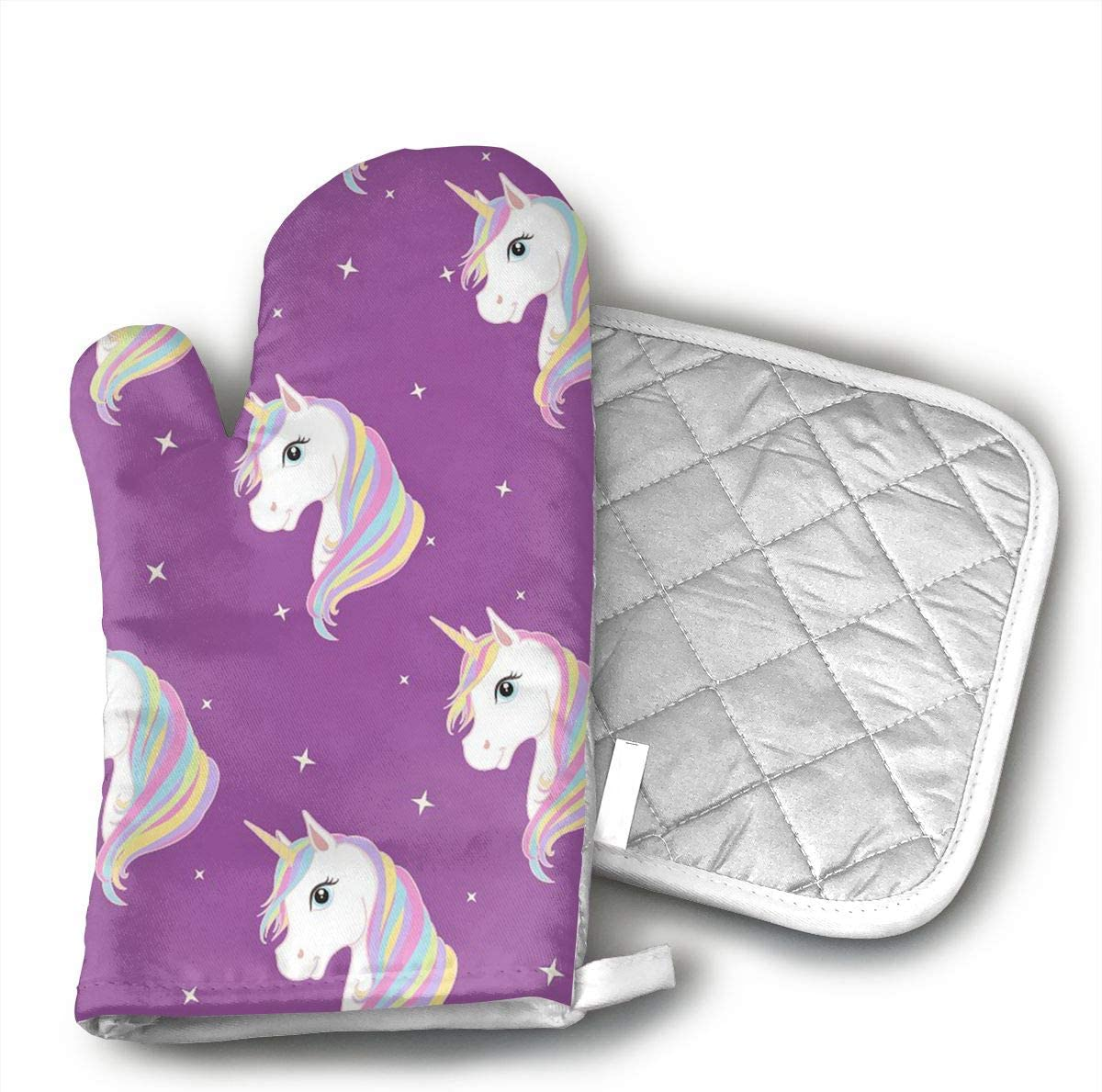 Unicorn in Purple Oven Mitts Kitchen Gloves and Pot Holders 2pcs for Kitchen Set with Cotton Neoprene Silicone Non-Slip Grip,Heat Resistant,Oven Gloves for BBQ Cooking Baking Grilling