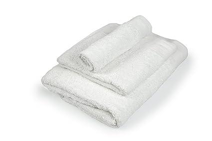 Towel Home - Juego 3 Toallas Blancas Rizo Americano, 550grm2 Calidad Extra (Blanco)