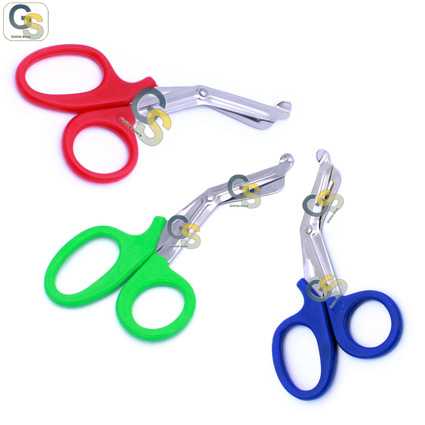 G.S 3 PCS (RED & GREEN & BLUE) PARAMEDIC UTILITY BANDAGE TRAUMA EMT EMS SHEARS SCISSORS 7.25 INCH STAINLESS STEEL