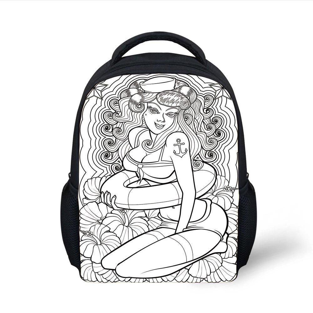 Iprint kids school backpack nauticaltattoo coloring book style sexy pin up girl hibiscus flowers curls stars decorativeblack white plain bookbag travel