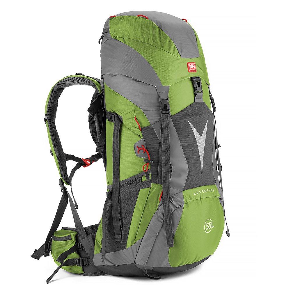 HYSENM 登山パック バックパック リュックサック 鞄 大容量 ハイキング 旅行用 キャンプ 防水カバー付き ユニセックス 55+5L B01HIFYZ82 グリーン