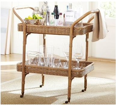 Jacquelyne Rattan Wicker Bar Cart - Traditional - Bar Carts - by Pottery Barn