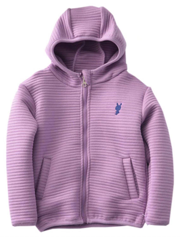 Betusline Kids Boys Girls Full-zips Hooded Jacket Purple,140 by Betusline