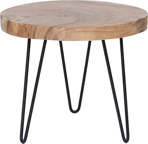 East at Main Phillip Brown Teakwood Accent Table, 22x22x19