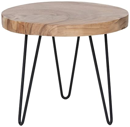 East At Main Phillip Brown Teakwood Accent Table, (22x22x19)