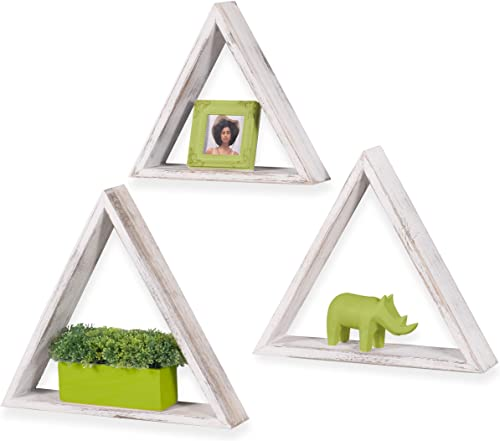 Rustic State Dante Wall Mount Triangle Wooden Box Shelf Distressed White Varying Sizes Set of 3