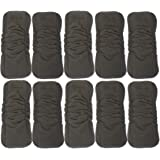 Charcoal Bamboo Cloth Diaper Reusable Liners with Gussets 5-Layer Inserts Soft Washable for Pocket Diapers Free Wet and Dry Bag - One Size Fits All (10 Pack-Black) by Oleh-Oleh (Black)