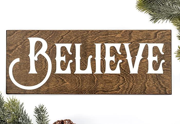 wooden believe christmas sign your choice of colors 1475 x 575 inches 235