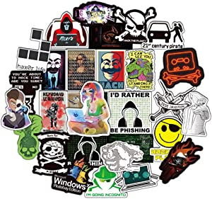 Honch Hacker Stickers Pack 50 Pcs Cybersecurity Stickers Vinyl Decals for Water Bottle Hydro Flask Laptop Ipad Luggage