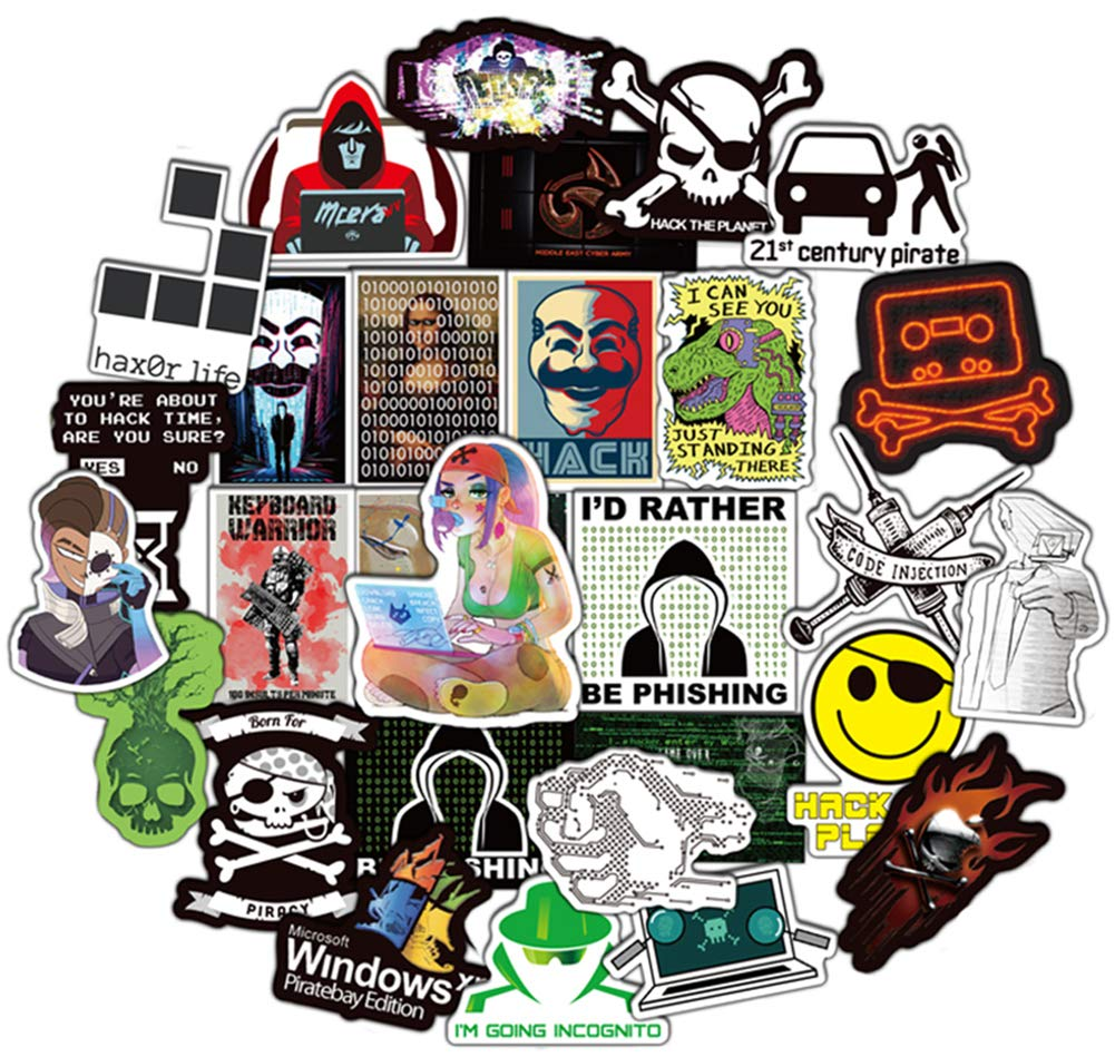 Honch Hacker Stickers Pack 50 Pcs Suitcase Stickers Vinyl Decals for Laptop Bumper Helmet Ipad Car Luggage Water Bottle