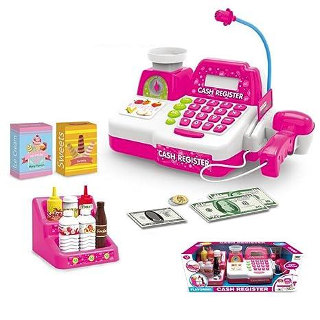 Foxom Caja Registradora de Juguete para Niños Caja Registradora Supermercado con Luz, Sonido y Calculadora
