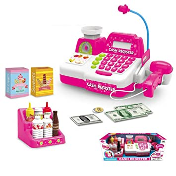 Foxom Caja Registradora de Juguete para Niños Caja Registradora Supermercado con Luz, Sonido y Calculadora: Amazon.es: Juguetes y juegos
