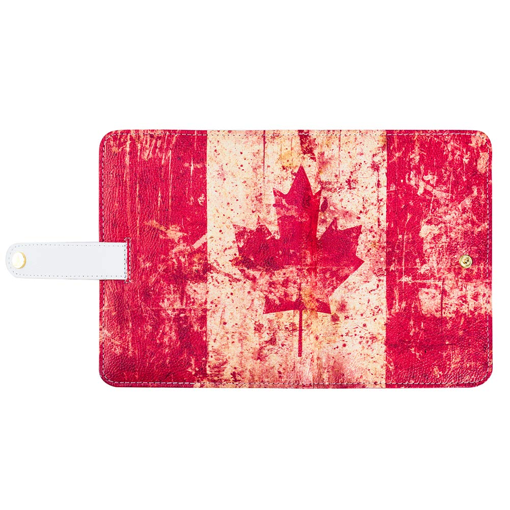 A6 Binder CA College 6 Round Ring Filofax Canadian National Flag Maple Leaf Cover Zippered Pockets 120 Sheets Refillable Blank Paper + 5 Divider Tabs + 2 to do List Sticker + 2 Pack of Index Cards by SANBEN