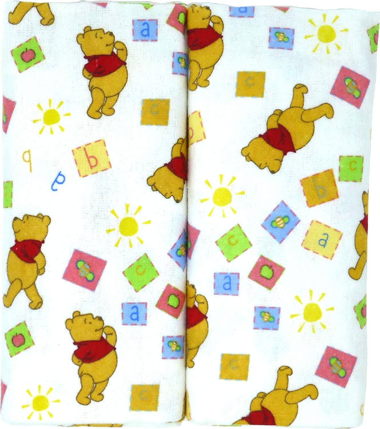 "Disney Winnie The Pooh Receiving Blankets. Two Pack of Varied Prints and Styles. Boy 30"" x 30"" …"