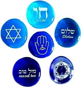 Judaica Glass Stones: Chai, Star of David, Hamsa, Mazel Tov and Shalom on Shades of Blue, Set of Six, by Lifeforce Glass