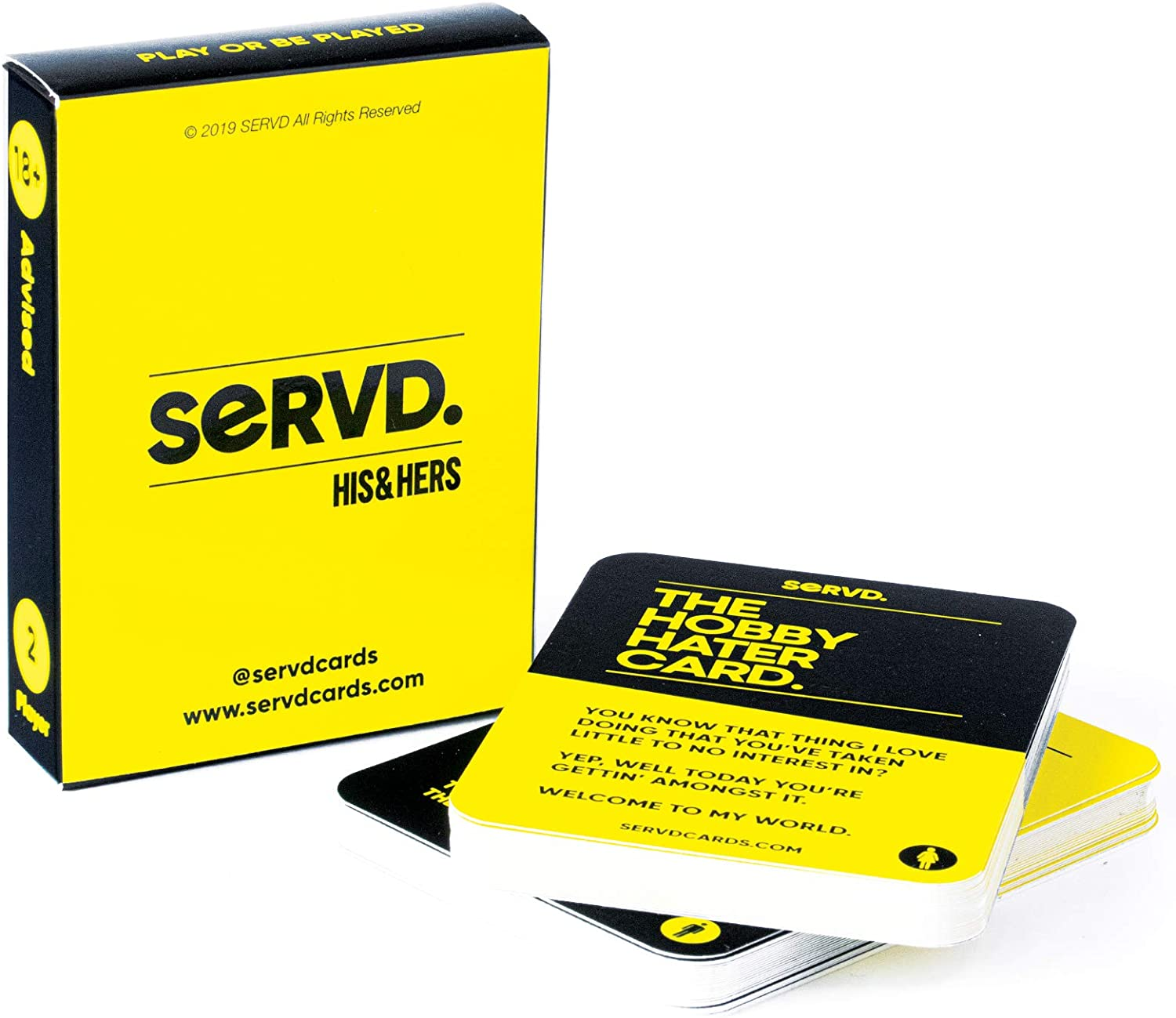 "An image of a card game for couples ""SERVD. His and Hers."" in yellow box."