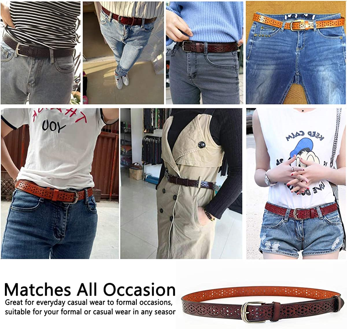Cintura donna vintage in vera pelle di vacchetta Cintura moda donna in design a motivo vuoto con fibbia in lega per jeans