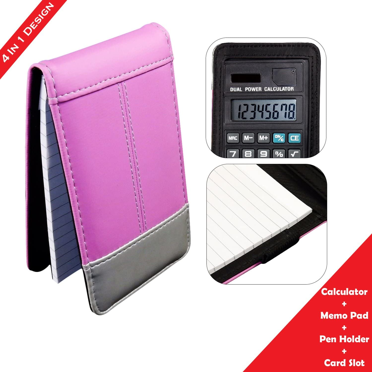 Jotter Note Pad With Calculator, School, Office, Travel - Pink