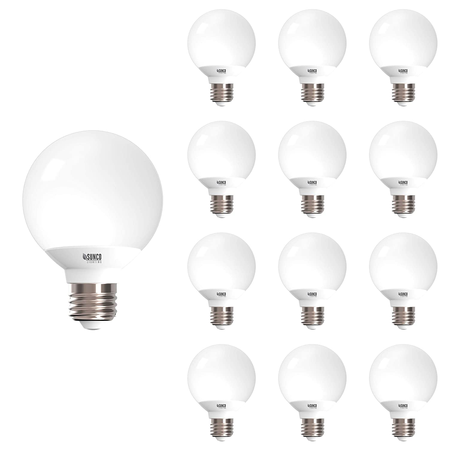 Sunco Lighting 12 Pack G25 LED Globe, 6W=40W, Dimmable, 3000K Warm White, E26 Base, Omnidirection Bulb for Vanities, Lamps, Light Fixtures - UL & Energy Star