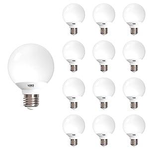 Sunco Lighting 12 Pack G25 LED Globe, 6W=40W, Dimmable, 5000K Daylight, E26 Base, Omnidirection Bulb for Vanities, Lamps, Light Fixtures - UL & Energy Star