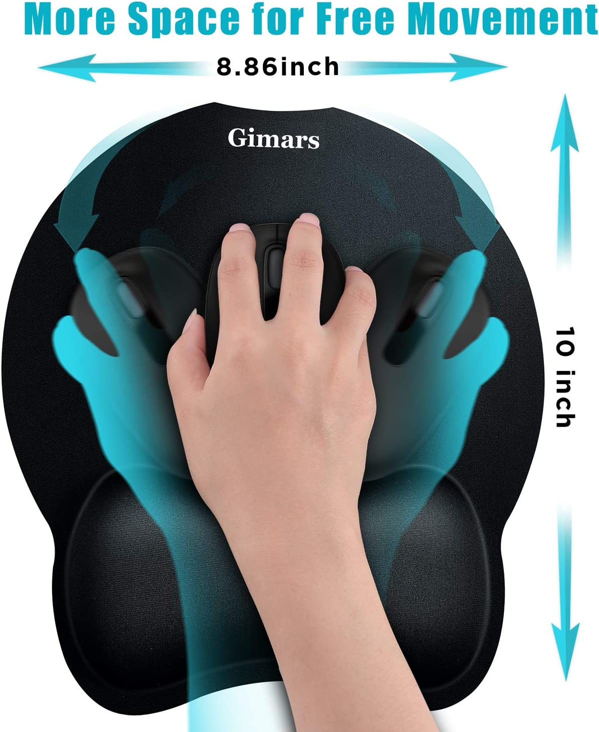 Gimars Upgrade Round Smooth Superfine Fibre Memory Foam Mouse Pad Wrist Rest Support - Ergonomic Mousepad with Nonslip Base for Laptop, Computer, Gaming, Office - Comfortable for Typing & Pain Relief : Office Products