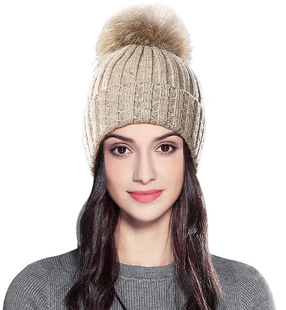 Superora Gorro para Mujer de Punto Invierno Sombrero Caliente con Pompón  Grande Beanie Cozy Gorra de Esquiar  Amazon.es  Ropa y accesorios 4cc0bfe685e