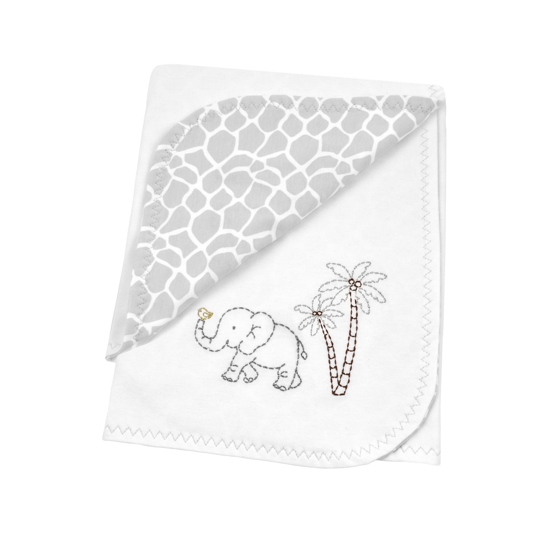 Just Born Animal Kingdom Comfort Blanket 100% Cotton Knit Giraffe Print, White/Grey by Just Born