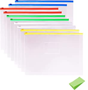 10 Pack Clear Plastic Poly Envelope Folder with Note Pads, Letter Size, 5 Color Zippers by V-story