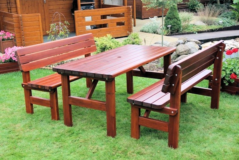 Massivholz Garten Sitzgruppe Rovna-1 , Kiefer , unlackiert , Holzdicke : 42 mm ! Set : 2 Gartenbänken , Massivholztisch .