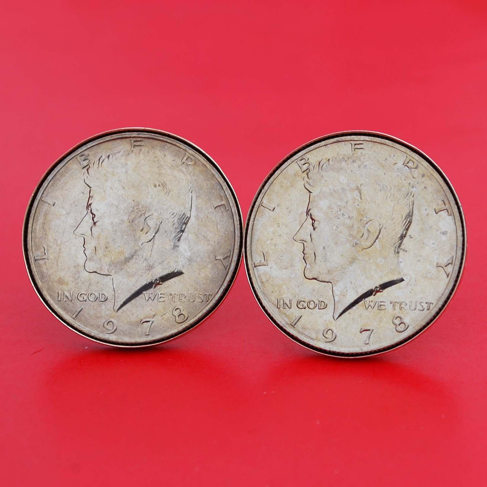 US 1978 Kennedy Half Dollar BU Uncirculated Coin Gold Cufflinks NEW