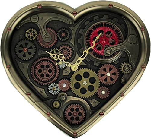 Veronese Design Metallic Brass Steampunk Moving Gears Heart Shaped Wall Clock