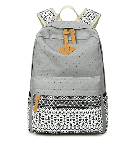 34d1f53cab0d Plovex Korean Canvas Printing Backpack Women School Bags for Teenage Girls  Cute Bookbags Vintage Laptop Backpacks Female (grey)  Amazon.co.uk  Kitchen    ...