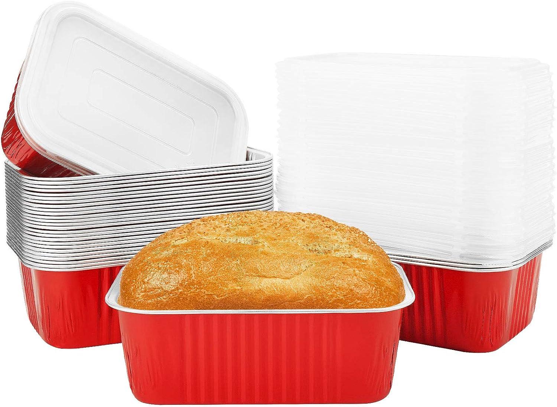 قوالب خبز صغيرة للخبز من بيسيا، 30 عبوة من ألومنيوم مع أغطية للاستعمال مرة واحدة – أحمر