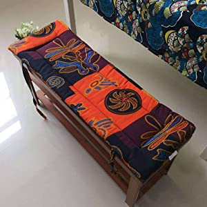 MO&SU Folk-Custom Bench Seat Cushion, Rectangle Cotton Bench Chair Pad with Tape Decoration Chair Cushion for Indoor Outdoor-40x150cm(16x59inch)-D