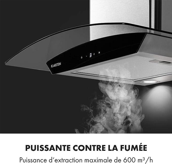 Klarstein Eclipse - Campana extractora, 3 niveles de potencia, hasta 600 m3/h, iluminación LED, diseño moderno de acero inoxidable y cristal, conversión en modo de recirculación, color plateado: Amazon.es: Hogar