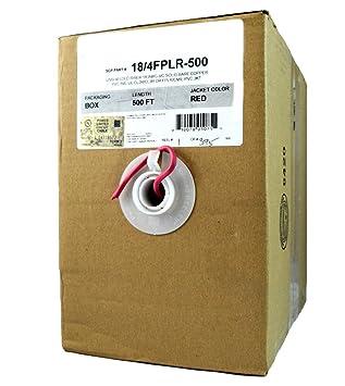 4 C/18 AWG Cable de alambre de cobre macizo rojo de alarma ...