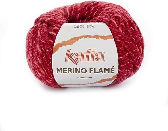Katia nuevo Merino Flame Fb. 110 – Vino Rojo, aguja de Lana con ...