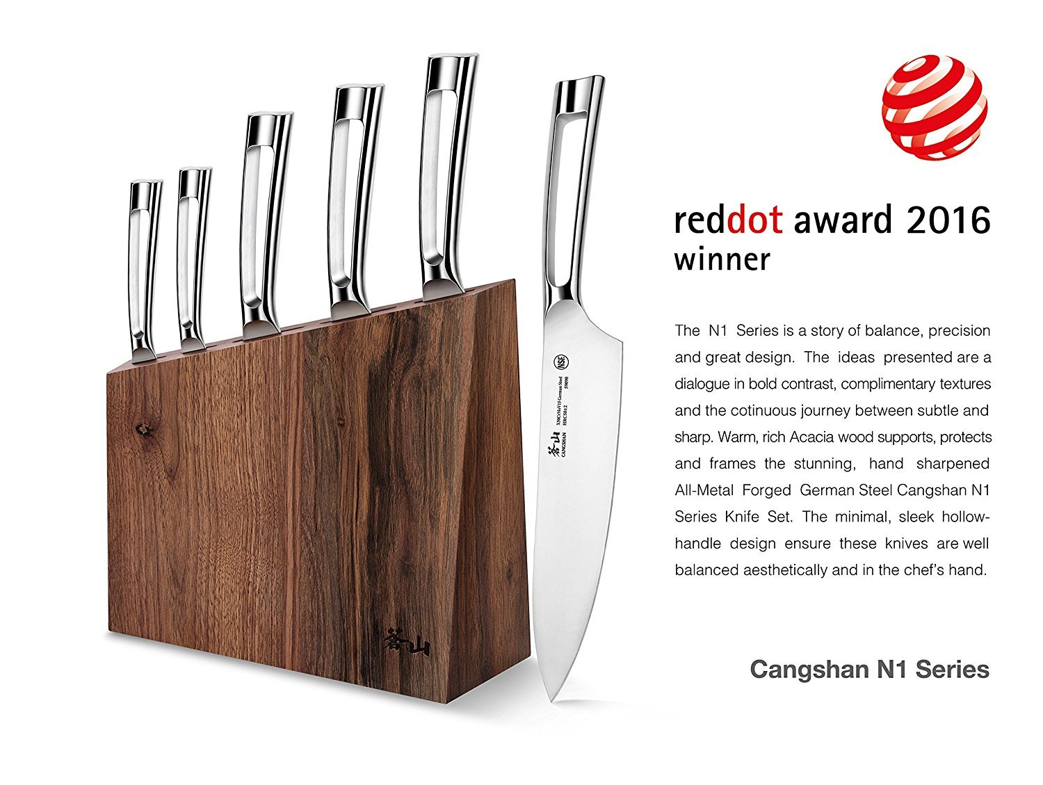 Cangshan N1 Series 61017 6-Piece German Steel Forged Knife Block Set, Walnut Block by Cangshan (Image #5)