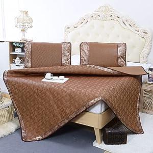 AMYDREAMSTORE Rattan Mattress Topper pad,Summer Sleeping pad Mattress mat,Foldable Cooling Summer Sleeping mat and Pillow Shams Set-A 120x195cm(47x77inch)