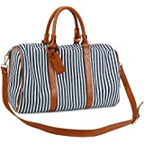 Ladies Weekender Overnight Bag Canvas Travel Duffel Bag with PU Leather carry on tote bag