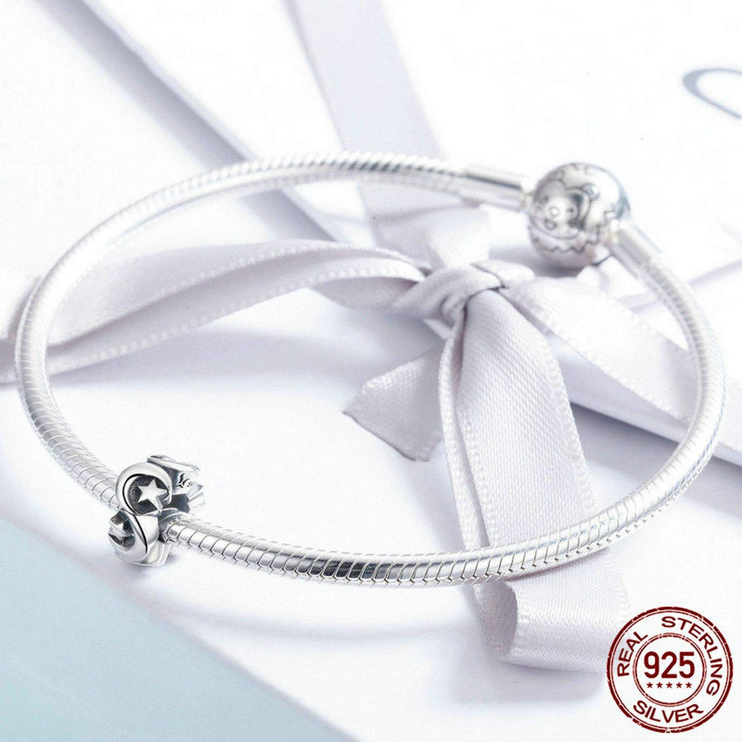 EverReena Moon and Star Spacer Charm Silver Beads Bracelets