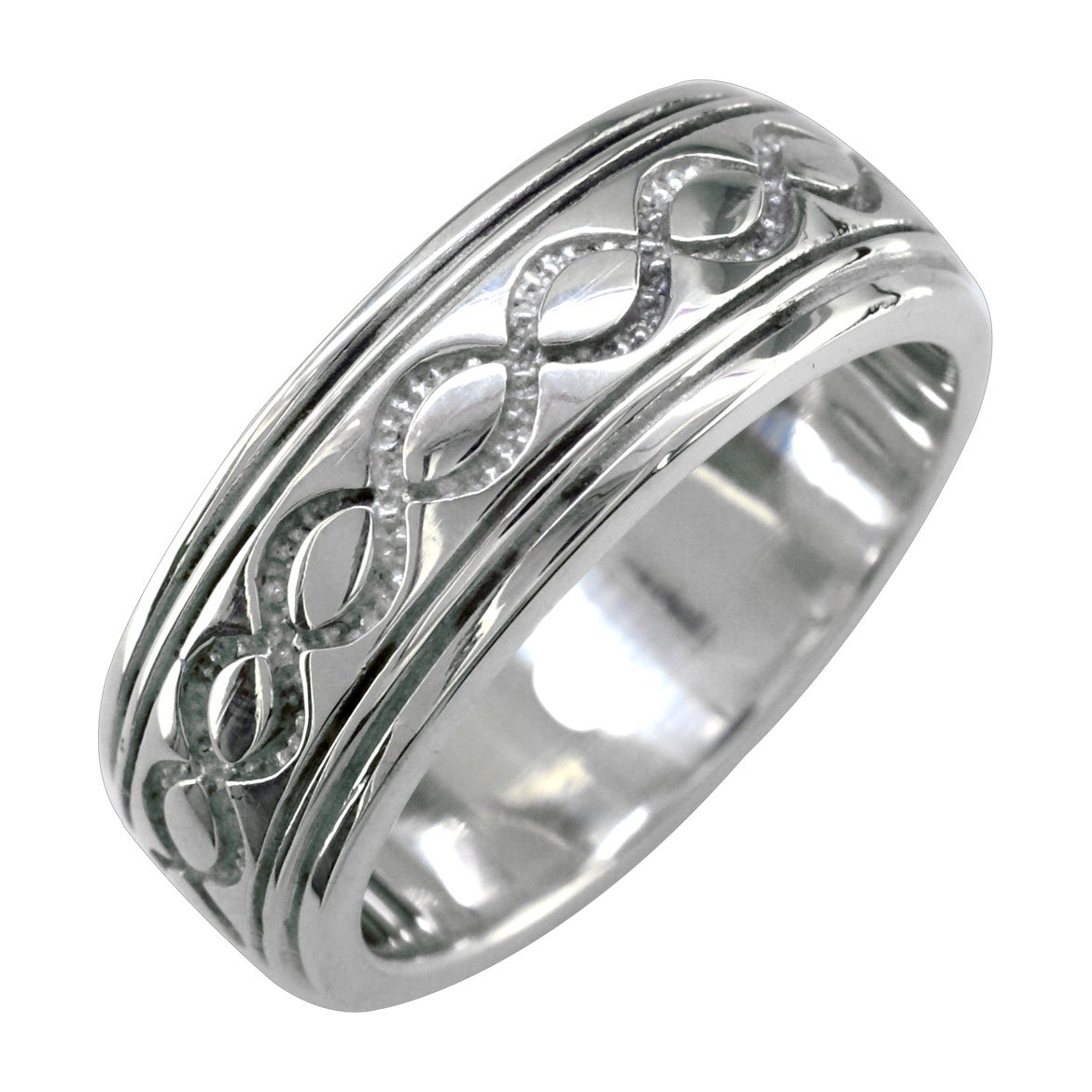 Mens or Womens Wide Infinity Wedding Ring, 8.5mm in Sterling Silver - size 8.5 by Sziro Infinity Wedding Bands